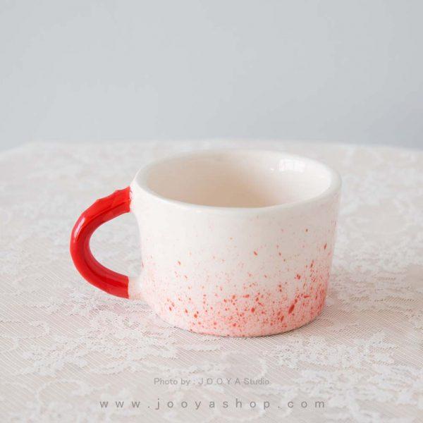 فنجان سفالی سفید قرمز