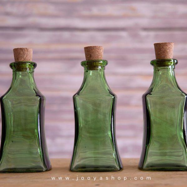 پک 3 عددی بطری شیشهای جنگل سبز رنگ با درب چوب پنبه ای