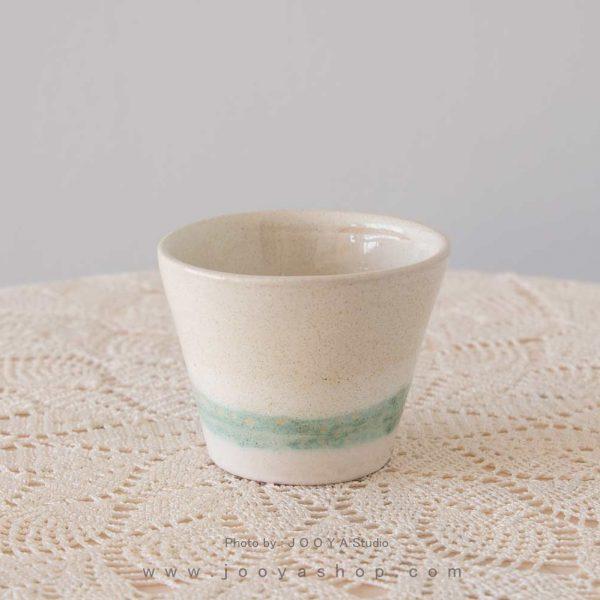 لیوان سرامیکی سفید مخروطی