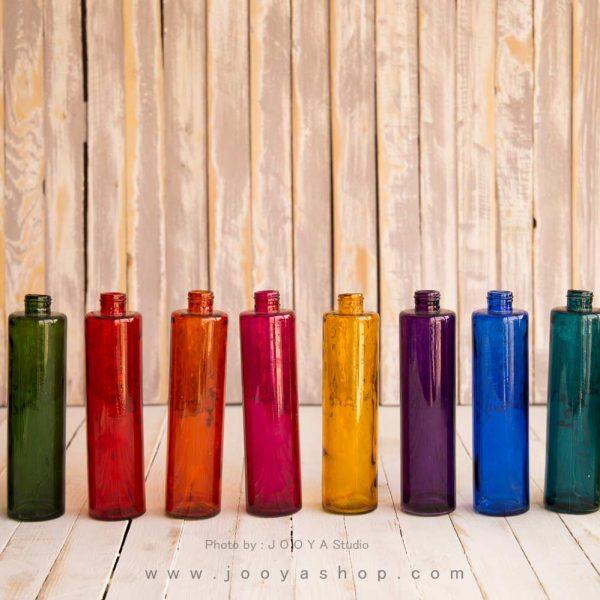 بطری شیشهای استوانهای در ۱۰ رنگ