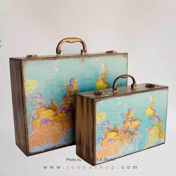 چمدان چوبی طرح نَقشه جَهان