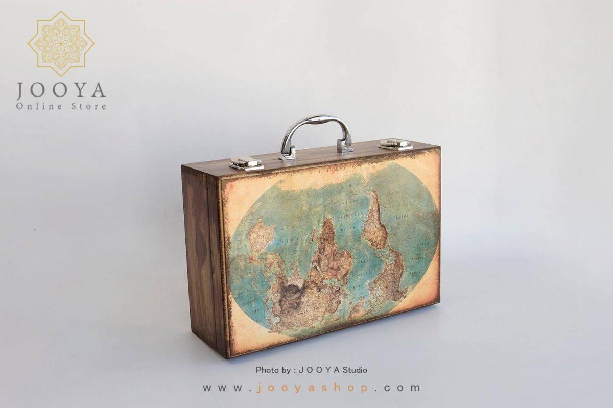 چمدان چوبی طرح زمین سایز کوچک