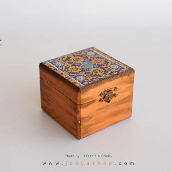 جعبه کوچک چوبی طرح کاشی