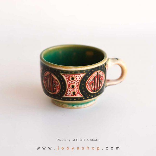فنجان نقاشی متاثر از آثار قرن ۵ نیشابور
