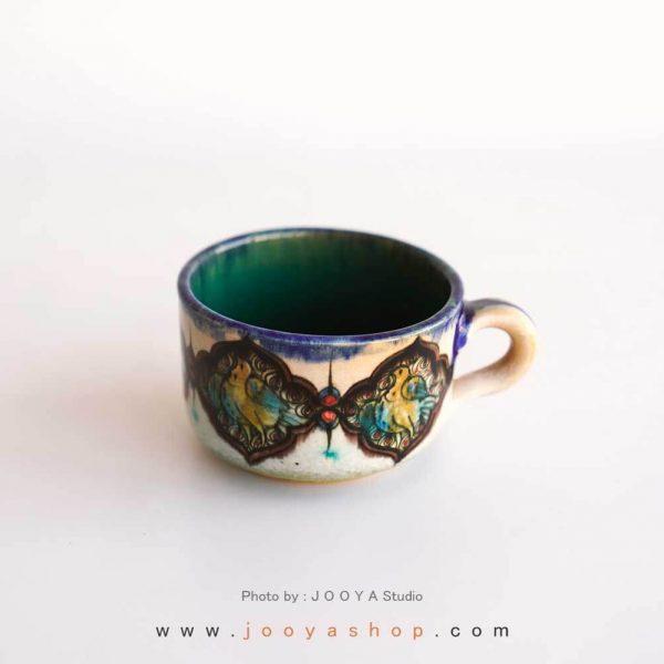 فنجان نقاشی متاثر از آثار قرن ۷ کاشان