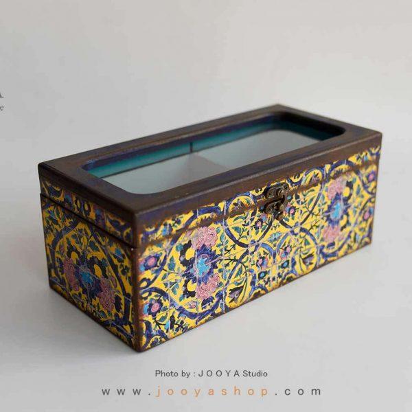 جعبه پذیرایی چوبی ۲ قسمتی طرح حوض نقاشی