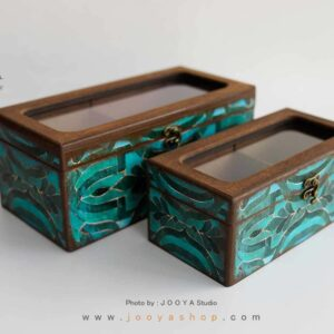 جعبه پذیرایی چوبی ۲ قسمتی طرح کهربا