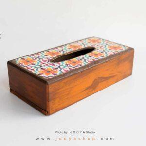 جعبه دستمال کاغذی چوبی طرح پاییز