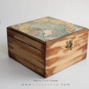 جعبه چوبی طرح نَقشه جَهان سایز متوسط