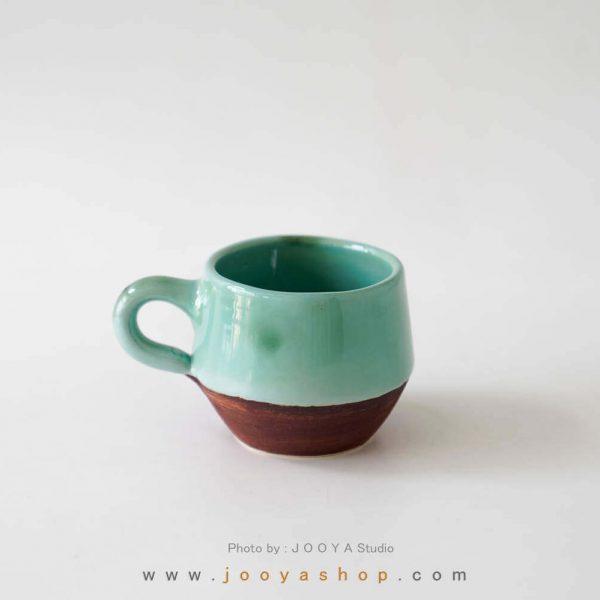 فنجان دستساز رنگ سبزآبی