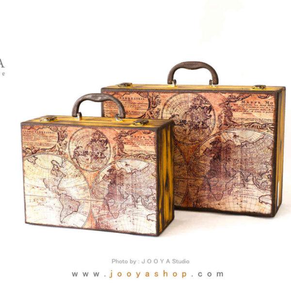 چمدان چوبی طرح گلوبال