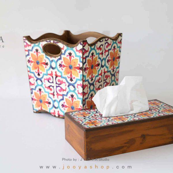 ست سطل و جعبه دستمال کاغذی طرح پاییز