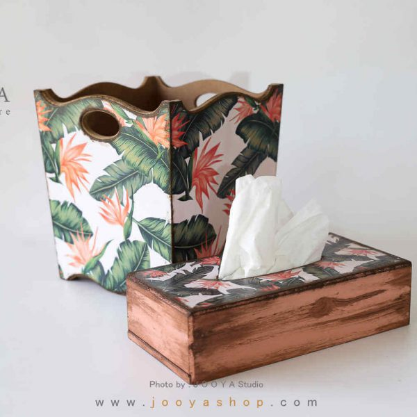 ست سطل و جعبه دستمال کاغذی طرح بهار