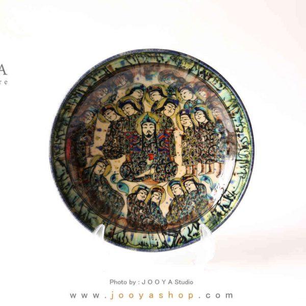 دیس سفالی نقاشی شده متاثر از آثار قرن ۸ کاشان