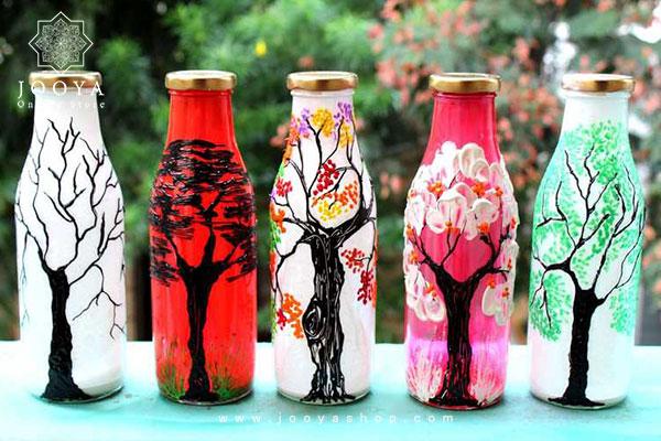 رنگ کردن بطری شیشهای با دست