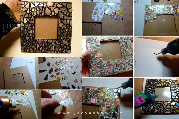 ساخت قاب عکس با استفاده از تکههای خرد شده CD