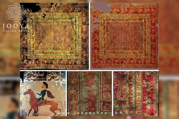 تصویری از بخشهای مختلف فرش پازیریک و نقش مایههای ایرانی در آن