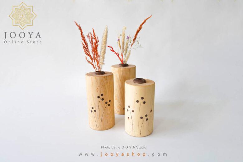گلدان استوانهای چوبی سرو