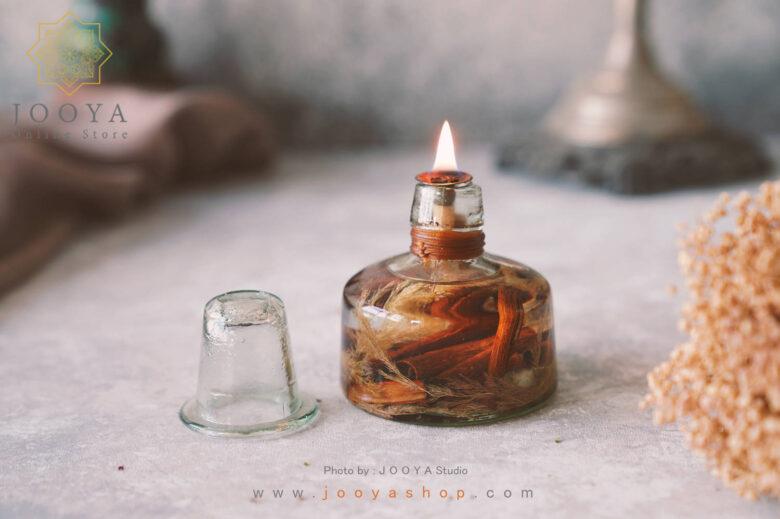 شمع شیشهای دارچین