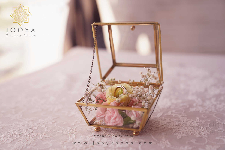حلقه عروس و داماد در باکس های شیشه ای