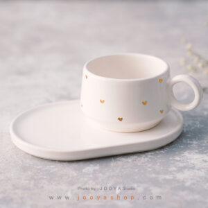 ست فنجان و زیرفنجانی سرامیکی قلب سفید