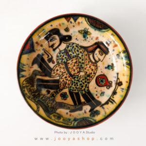 بشقاب سفالی نقاشی شده متاثر از آثار قرن ۴ نیشابور