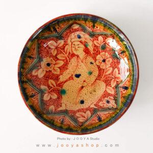 بشقاب سفالی نقاشی شده متاثر از آثار کاشان