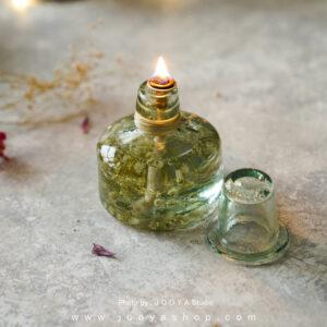 شمع شیشهای گل عروس