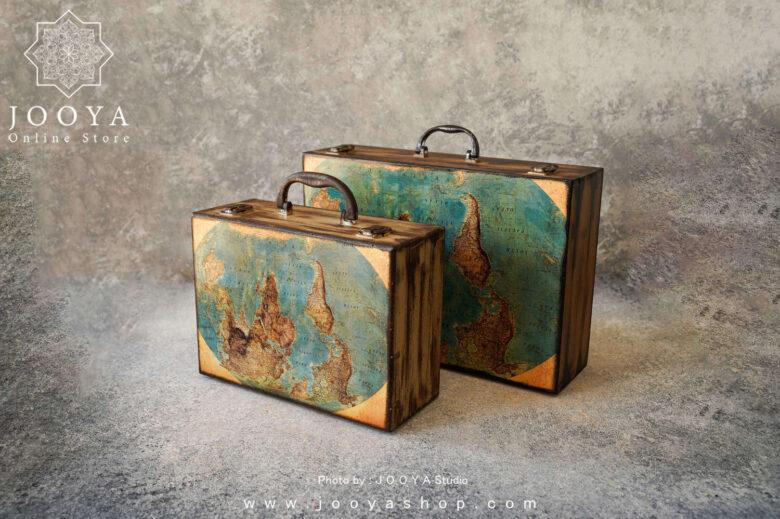 چمدان چوبی طرح زمین