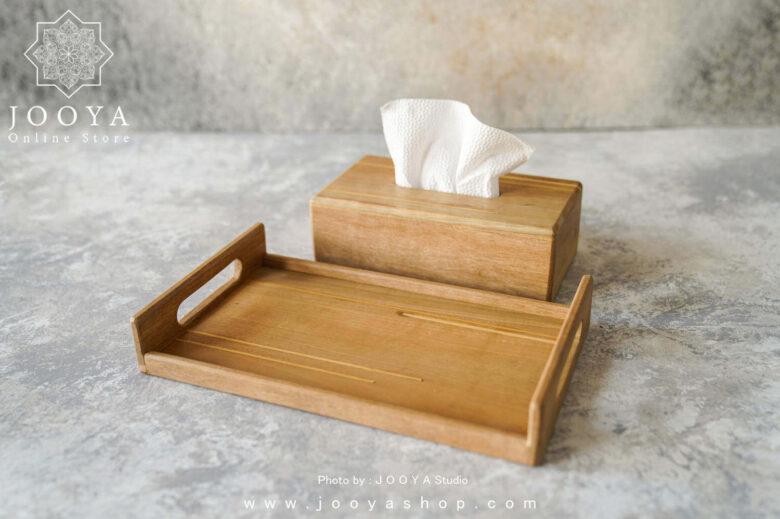 ست ۲ تکه چوبی سینی و جای دستمال کاغذی هما