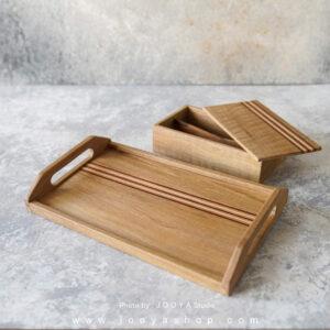 ست ۲ تکه چوبی سینی و جای قاشق و چنگال سیرن