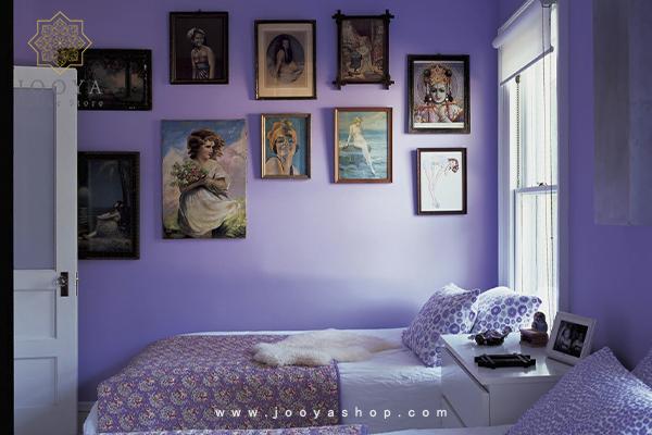 ایدههای اتاق خواب بنفش با ملحفههای بنفش