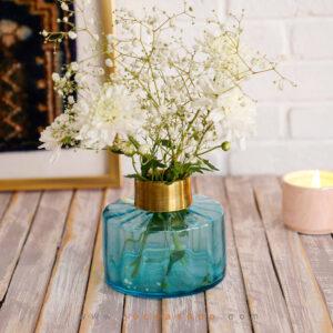 گلدان شیشه ای فیروزه